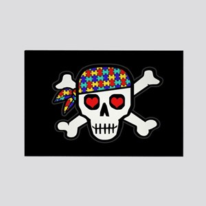 Rockin' Autism Skull (Blk) Rectangle Magnet (10)