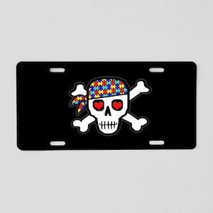 Rockin' Autism Skull (Blk) Aluminum License Plate