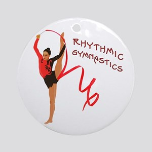 Red Gymnast Ribbon Ornament (Round)