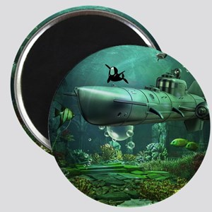 Awesome submarine with orca and dolphin Magnets