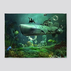 Awesome submarine with orca and dolphin 5'x7'Area