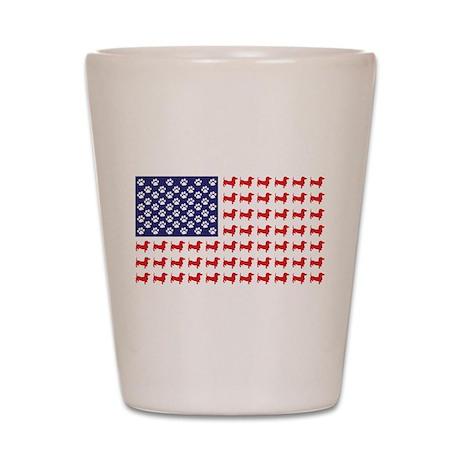 Dachshund Patriotic Flag Shot Glass