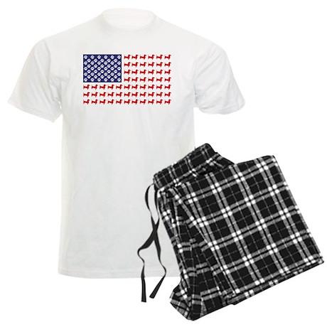 Dachshund Patriotic Flag Men's Light Pajamas