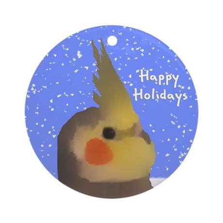 Male Grey Cockatiel Art Holiday Ornament