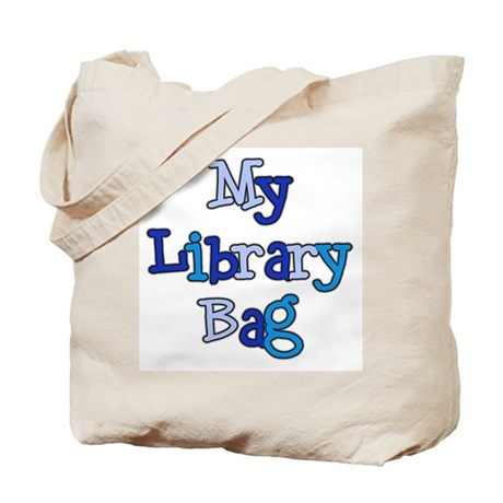 Blue Text Library Bag Tote Bag