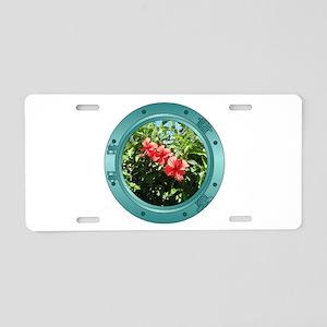 Hibiscus Porthole Aluminum License Plate