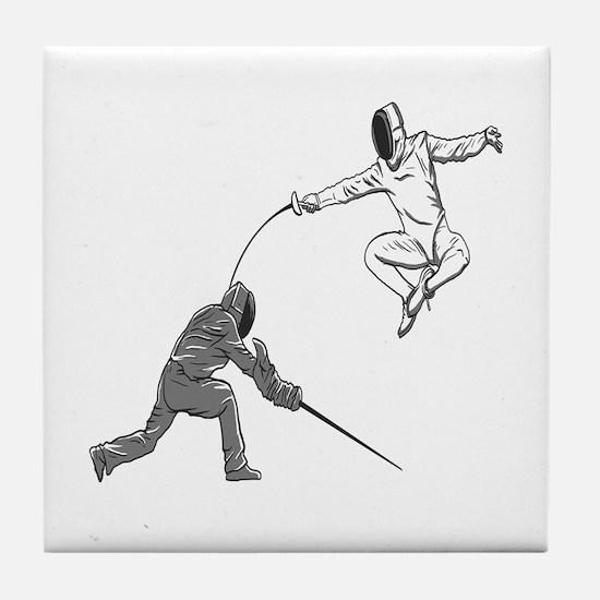 Fencing Match Tile Coaster