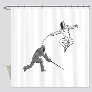 Fencing Match Shower Curtain