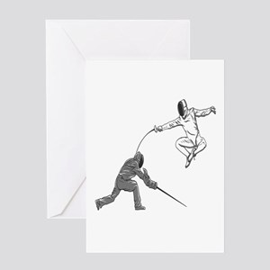 Fencing Match Greeting Cards