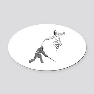Fencing Match Oval Car Magnet