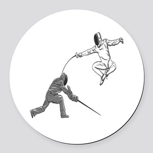 Fencing Match Round Car Magnet