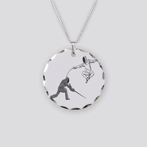 Fencing Match Necklace Circle Charm
