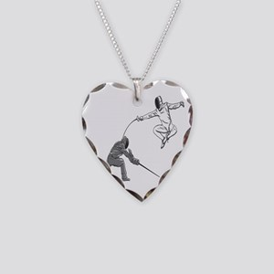 Fencing Match Necklace Heart Charm