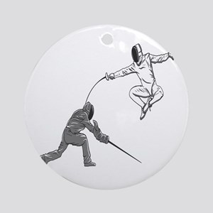Fencing Match Round Ornament