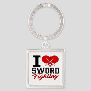I Love Sword Fighting Keychains