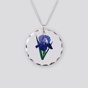 Stained Glass Iris Necklace Circle Charm