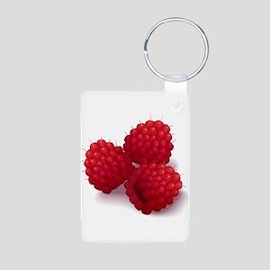 Raspberries Aluminum Photo Keychain