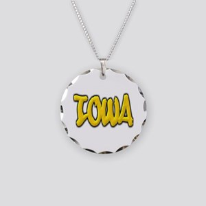 Iowa Graffiti Necklace Circle Charm