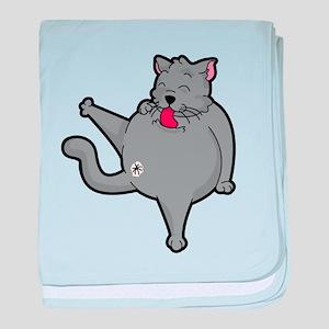 Happy grooming cat time baby blanket