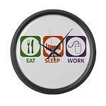 Eat. Sleep. Work. Large Wall Clock