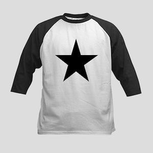Black 5-Pointed Star Kids Baseball Jersey
