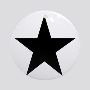 Black 5-Pointed Star Ornament (Round)