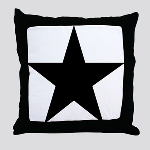 Black 5-Pointed Star Throw Pillow
