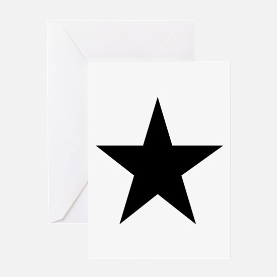 Black 5-Pointed Star Greeting Card