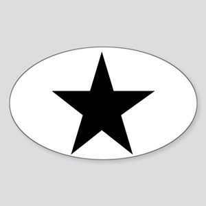Black 5-Pointed Star Sticker (Oval)