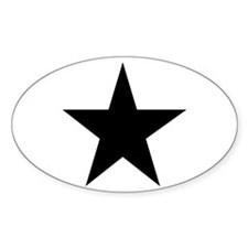 Black 5-Pointed Star Sticker (Oval)