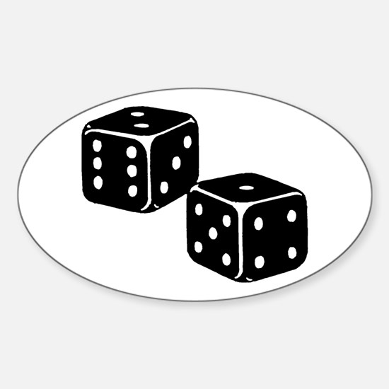 Vintage Dice Icon Sticker (Oval)