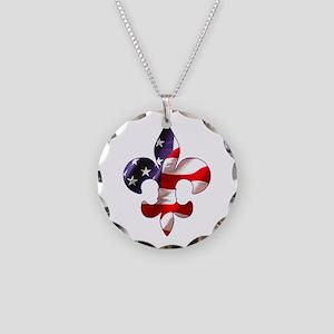 Fleur de lis Stars & Stripes Necklace Circle Charm