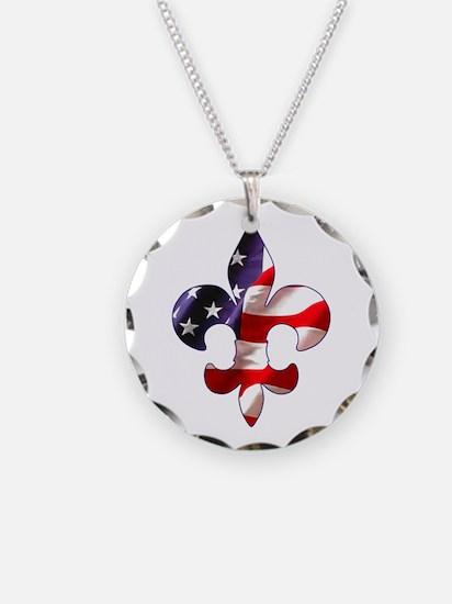 Fleur de lis Stars & Stripes Necklace
