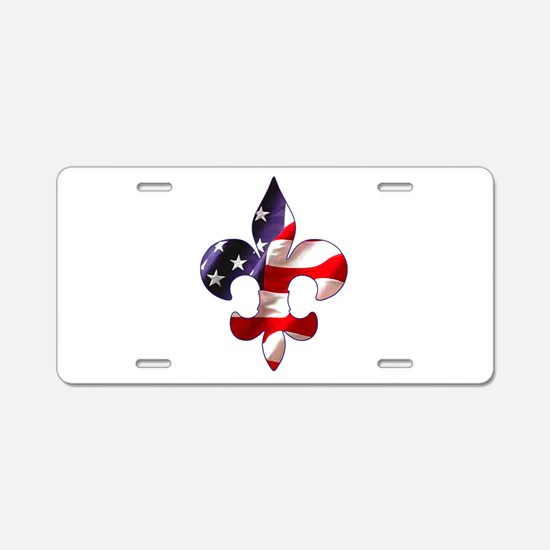 Fleur de lis Stars & Stripes Aluminum License Plat