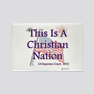 This is a Christian Nation Rectangle Magnet