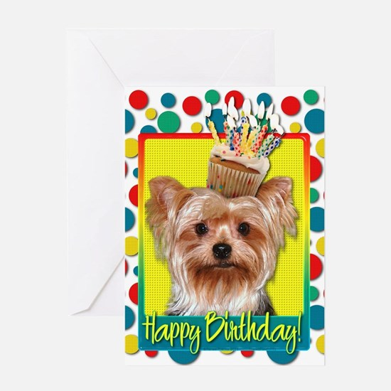 Birthday Cupcake - Yorkie Greeting Card