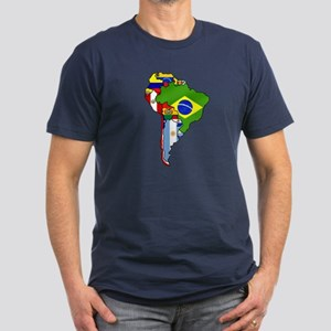 South America Flag Map Men's Fitted T-Shirt (dark)