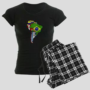 South America Flag Map Women's Dark Pajamas