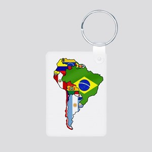 South America Flag Map Aluminum Photo Keychain