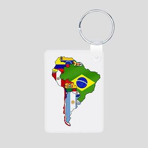 South America Flag Map Aluminum Photo Keychain
