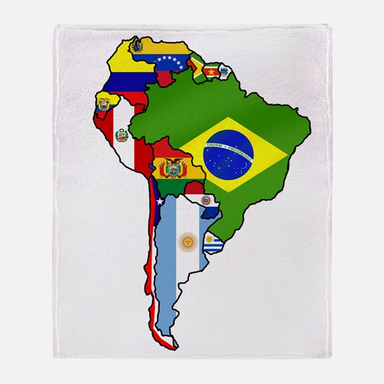 South America Flag Map Throw Blanket
