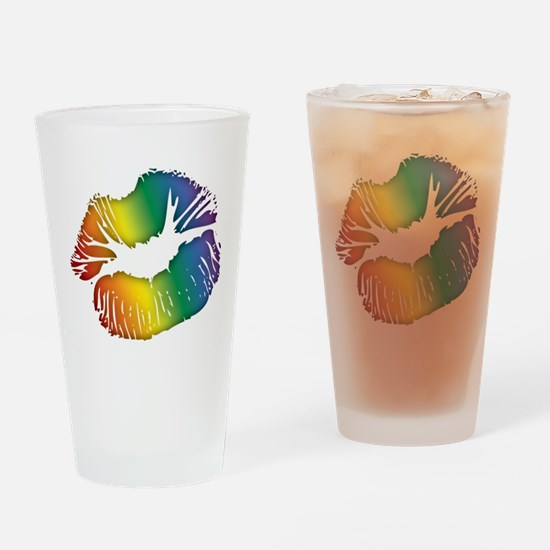 Rainbow Lipstick Lesbian Pint Glass