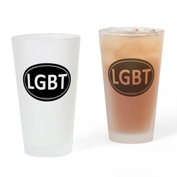 LGBT Black Euro Oval Pint Glass