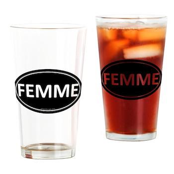 FEMME Black Euro Oval Pint Glass