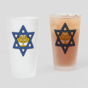 Star of David with Menorah Pint Glass