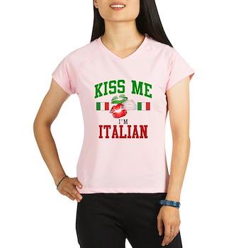 Kiss Me I'm Italian Women's Double Dry Short Sleev