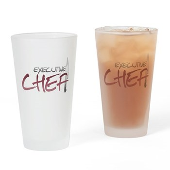Red Executive Chef Pint Glass