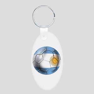 Argentina Football Aluminum Oval Keychain