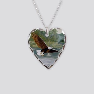 American Bald Eagle Flight Necklace Heart Charm