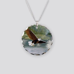 American Bald Eagle Flight Necklace Circle Charm